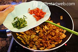fried chilies and kaffir-lime leaves