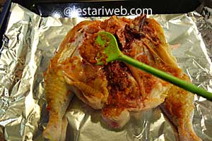 coat chicken with spice paste