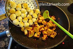 adding tofu and eggs