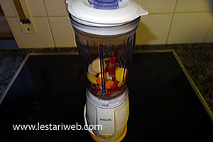 ingredients for the paste in a blender