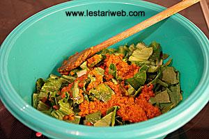 shredded leaves in a bowl