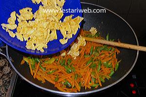 add scrambled egg