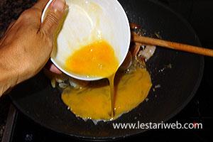 add the beaten egg