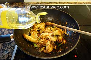 Add the vegetable oil