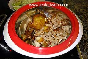 shredding fried chicken