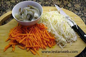 carrots and cabbage leaves